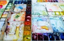 Papel pintado del arte de la paleta de la acuarela de Colorfull fotografía de archivo