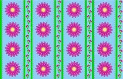 Papel pintado del azul del vector EPS 10 con las flores rosadas   Fotografía de archivo libre de regalías