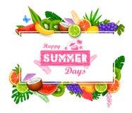 Papel pintado del cartel del tiempo de verano para la plantilla de la bandera de la invitación del partido de la diversión libre illustration