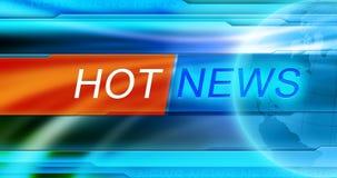 Papel pintado del fondo de las noticias Título de las noticias calientes en el fondo azul Imagen de archivo libre de regalías