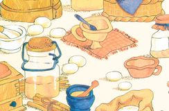 Papel pintado del vintage con el diseño de objeto, de comida y de bebida Imagenes de archivo