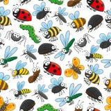 Papel pintado divertido de la historieta de los insectos y de los insectos Foto de archivo libre de regalías