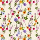 Papel pintado floral adorable, modelo incons?til con las flores del verano stock de ilustración