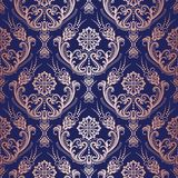 Papel pintado floral del damasco del oro de Rose en fondo azul marino Fotos de archivo