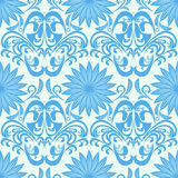 Papel pintado floral inconsútil azul del damasco Imágenes de archivo libres de regalías