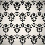 Papel pintado floral ornamental de lujo negro Imagen de archivo libre de regalías