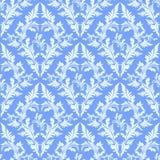 Papel pintado inconsútil azul claro del damasco. Foto de archivo libre de regalías