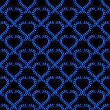 Papel pintado inconsútil azul de los corazones de la noche stock de ilustración