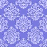 Papel pintado inconsútil azul del damasco de Llight Fotos de archivo