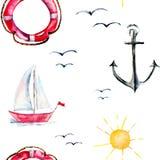 Papel pintado inconsútil con la boya, el ancla y las naves de vida Foto de archivo libre de regalías
