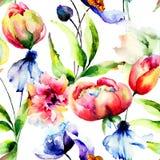 Papel pintado inconsútil con las flores Fotos de archivo libres de regalías