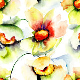 Papel pintado inconsútil con las flores del verano Foto de archivo libre de regalías