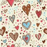 Papel pintado inconsútil de los corazones lindos del doodle Imagen de archivo