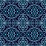 Papel pintado inconsútil del damasco: azul en azul marino Fotografía de archivo