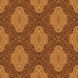 Papel pintado inconsútil del damasco - el beige y el marrón diseñan Foto de archivo