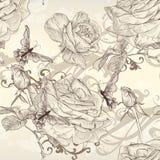 Papel pintado inconsútil del vector hermoso con las rosas en estilo del vintage ilustración del vector