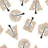 Papel pintado inconsútil el fondo del vector de los árboles Fotografía de archivo