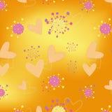 Papel pintado inconsútil floral del modelo de los corazones stock de ilustración