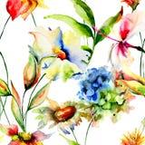 Papel pintado inconsútil con las flores estilizadas Foto de archivo libre de regalías