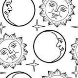 Papel pintado inconsútil la luna y el Sun con las caras Fotografía de archivo libre de regalías