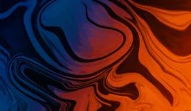 Papel pintado líquido de mármol anaranjado azul del fondo Ilustraciones del aceite de Digitaces para el diseño gráfico stock de ilustración