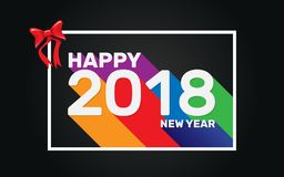Papel pintado largo colorido de la sombra de la Feliz Año Nuevo 2018 Imagen de archivo libre de regalías