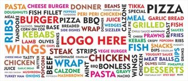 Papel pintado moderno del menú de la comida Imagen de archivo libre de regalías