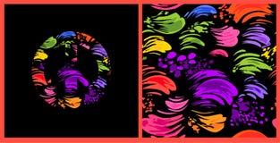 Papel pintado negro inconsútil abstracto con los movimientos del cepillo y símbolo de paz coloridos del hippie con colorido salpi Imagen de archivo libre de regalías