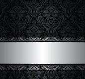 Papel pintado negro y de plata del vintage Imagen de archivo