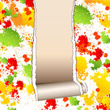 Papel pintado pintado rasgado con la pared limpia debajo Imagen de archivo libre de regalías