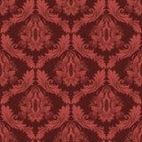Papel pintado retro del damasco inconsútil en colores rojos Foto de archivo libre de regalías