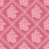 Papel pintado rosado inconsútil del damasco con el ramo de flores para el diseño Fotos de archivo libres de regalías
