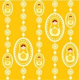Papel pintado ruso amarillo de la muñeca Fotos de archivo