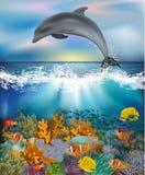 Papel pintado subacuático con el delfín y los pescados tropicales, vector Imagen de archivo