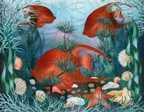 Papel pintado subacuático con las cáscaras y los pescados tropicales Foto de archivo libre de regalías
