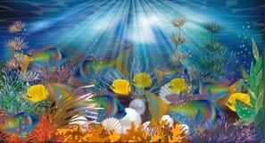 Papel pintado subacuático con las perlas y los pescados tropicales Fotos de archivo