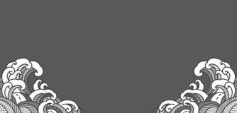 Papel pintado tradicional del diseño de la esquina de la ola oceánica stock de ilustración