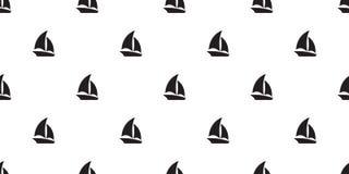 Papel pintado tropical náutico marítimo de la repetición del fondo de la teja de la bufanda del modelo del barco del yate del vel libre illustration