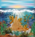 Papel pintado tropical subacuático con el castillo de la arena Imagen de archivo libre de regalías