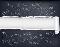 Papel preto rasgado com fórmulas. Imagens de Stock Royalty Free