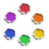 Papel rasgado com cores preliminares e secundárias Fotografia de Stock