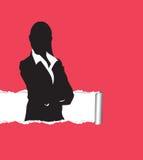 Papel rasgado com um fundo da mulher Fotografia de Stock Royalty Free