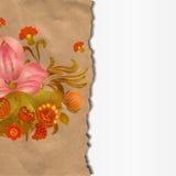 Papel rasgado con las flores del vintage Imagen de archivo