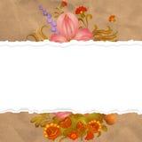 Papel rasgado del vintage con las flores del vintage Imágenes de archivo libres de regalías