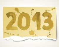Papel rasgado grunge del Año Nuevo 2013 Imagenes de archivo