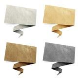 Papel reciclado etiqueta del origami de la charla Imagen de archivo libre de regalías