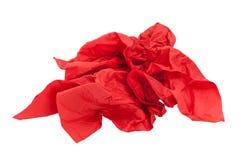 Papel rojo arrugado de la servilleta Fotografía de archivo