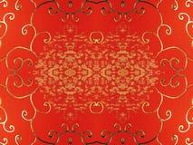 Papel rojo con los ornamentos de oro Imagenes de archivo
