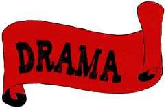 Papel rojo de la voluta con el texto del DRAMA stock de ilustración
