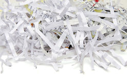 Papel Shredded isolado Fotos de Stock